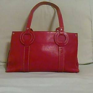 Red leather Cole Haan purse